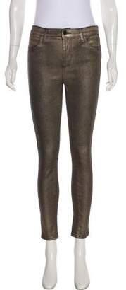 J Brand Alana Metallic Mid-Rise Jeans