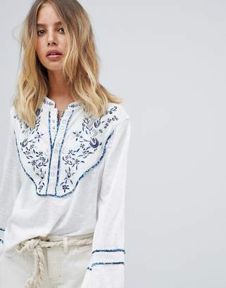 Free People Sundance Kid embroidered henley top
