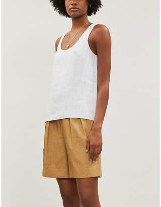 Theory Relaxed textured linen-blend top