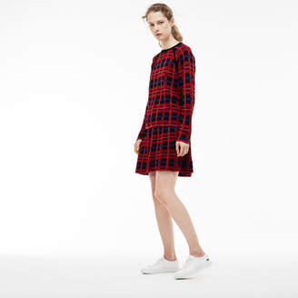 Lacoste Women's Graphic Check Wool And Cotton Jacquard Flared Skirt