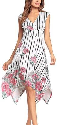 YACUN Women Summer Sleeveless Print Beach Cocktail Party Dress M