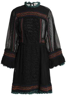 Valentino Paneled Fringe-Trimmed Knitted Mini Dress