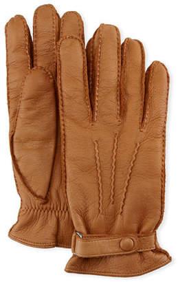 Hestra Gloves Men's Winston Snap Leather Cashmere-Lined Gloves