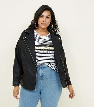 New Look Curves Black Leather-Look Biker Jacket