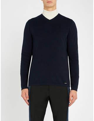 HUGO V-neck cotton-blend jumper