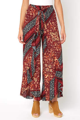 Olivaceous Multi Print Ruffle Wrap Pant