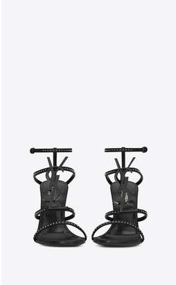 Saint Laurent Cassandra Sandals In Smooth Leather And Black Monogram Decorated With Studs