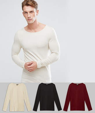 Asos Design Extreme Muscle Fit Long Sleeve T-Shirt With Boat Neck 3 Pack SAVE