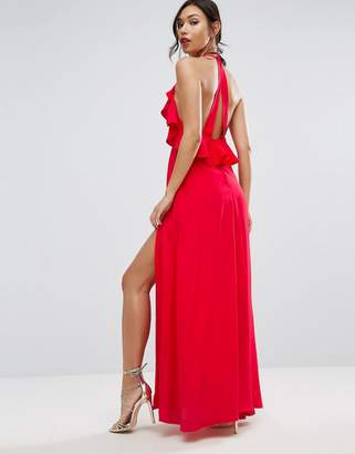 ASOS Ruffle Front Strap Back Maxi Dress $72 thestylecure.com