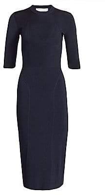 Victoria Beckham Women's Rib-Knit Crewneck Sheath Dress