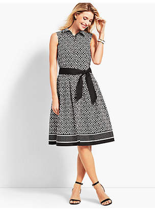 Talbots Sleeveless Fit-And-Flare Geo-Diamond Shirtdress