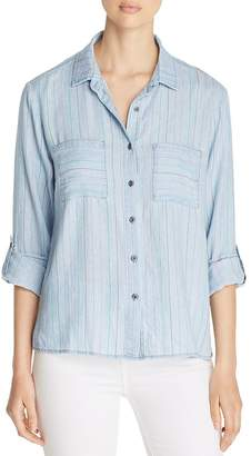 BILLY T Striped Chambray Shirt