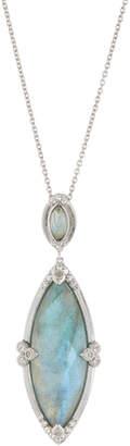 Jude Frances Large Marquise Pendant Necklace, Labradorite/Rose Quartz