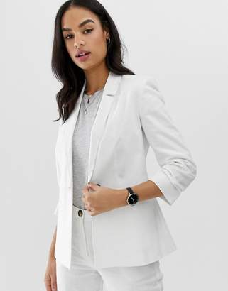 Asos Design DESIGN linen blazer with ruched sleeve