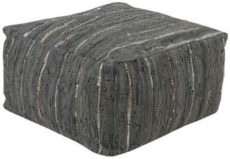 Surya Anthracite Cube Pouf, Gray