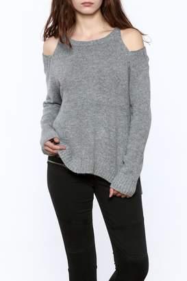 Elan International Angora Cold Shoulder Sweater