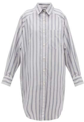 Etoile Isabel Marant Sanders Striped Cotton Shirt Dress - Womens - Light Blue