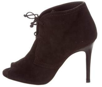 CH Carolina Herrera Suede Lace-Up Ankle Boots