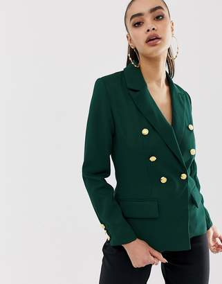 Missguided military blazer in green