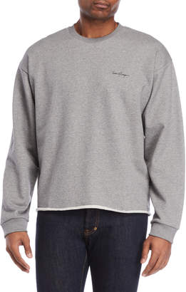 Second/Layer Heather Grey Cropped Script Logo Pullover