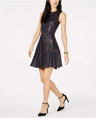 Michael Kors Floral-Lasercut Faux-Leather Dress