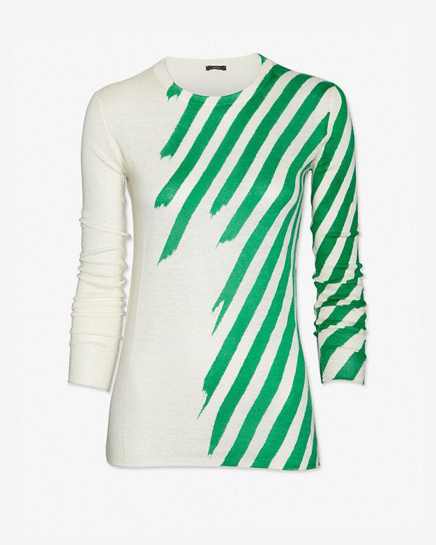 Joseph Green Zebra Stripe Cashmere Sweater