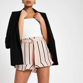 River Island Womens Pink stripe belted shorts