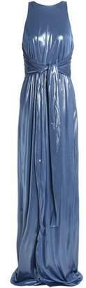 Halston Tie-Front Lamé Gown