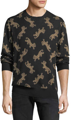 Ovadia & Sons Men's Leopard Jacquard Sweater