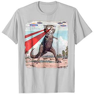 T Rex Cat with Laser Eyes T Shirt   Funny Epic UFO Meme Tee