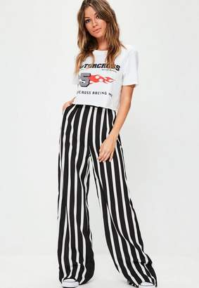 Missguided Black Wide Leg Trousers, White