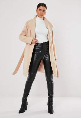 Missguided Nude Funnel Neck Belted Coat