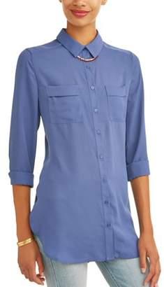 Como Blu Women's Button Up Tunic Shirt