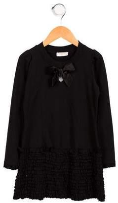 MonnaLisa Girls' Long Sleeve Ruffle-Accented Dress