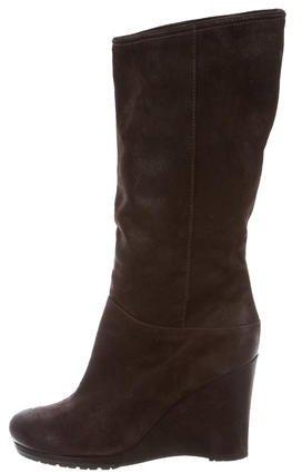 pradaPrada Suede Mid-Calf Wedge Boots