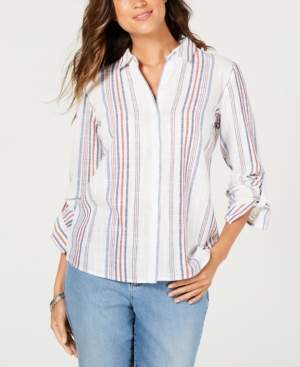 Charter Club Striped Button-Front Roll-Tab-Sleeve Top, Created for Macy's