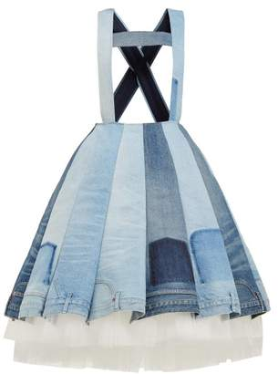 Junya Watanabe Panelled Denim And Tulle Dress - Womens - Blue