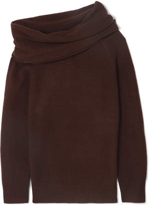 Joseph Draped Off-the-shoulder Wool-blend Sweater - Brown