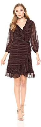 Adrianna Papell Women's Fit and Flare Textured Chiffon Dress with Lace Details