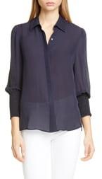 L'Agence Lucin Smocked Cuff Silk Blouse