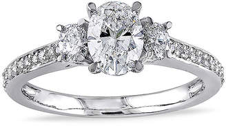 JCPenney MODERN BRIDE 1-1/10 CT. T.W. Diamond 14K White Gold 3-Stone Oval Ring