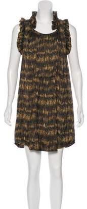Isabel Marant Silk Printed Ruffle-Trimmed Dress