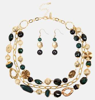 Avenue Green Gold Chain Necklace and Earring Set