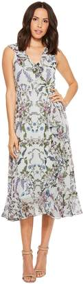 Donna Morgan Floral Printed Chiffon Sleeveless Wrap Dress Women's Dress
