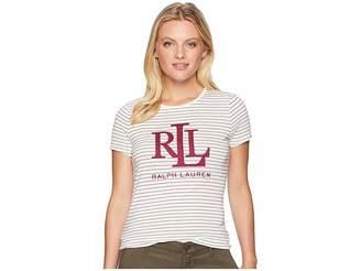 Lauren Ralph Lauren Petite Studded-Logo T-Shirt