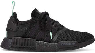 adidas Nmd_r1 Rubber And Leather-trimmed Stretch-knit Sneakers - Black