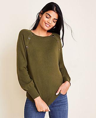 Ann Taylor Snap Trim Sweater