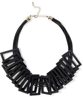 Kenneth Jay Lane Wood Cord And Gold-Tone Necklace