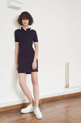 French Connection Milos Rib Trim Jersey Polo Dress
