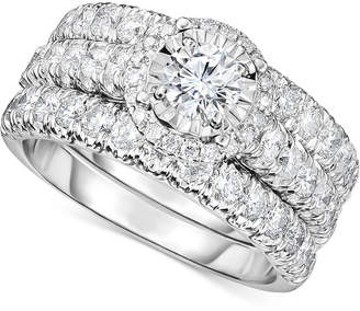 Trumiracle Diamond 3-Pc. Bridal Set (2 ct. t.w.) in 14k White Gold
